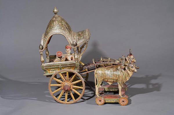 Bullock Cart with Two Noblemen Seated, Anonymous Indian Artist, Gujarat, Northern India, Mid 19th century, Polychrome wood & metal, 55 cms