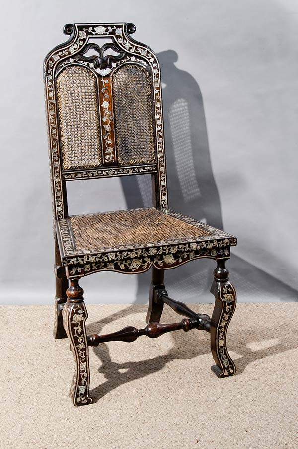 Ebony Side Chair with Abalone Inlay, Vizagapatam, Ebony with abalone inlay, End 17th century, 92 x 47 x 38 cms