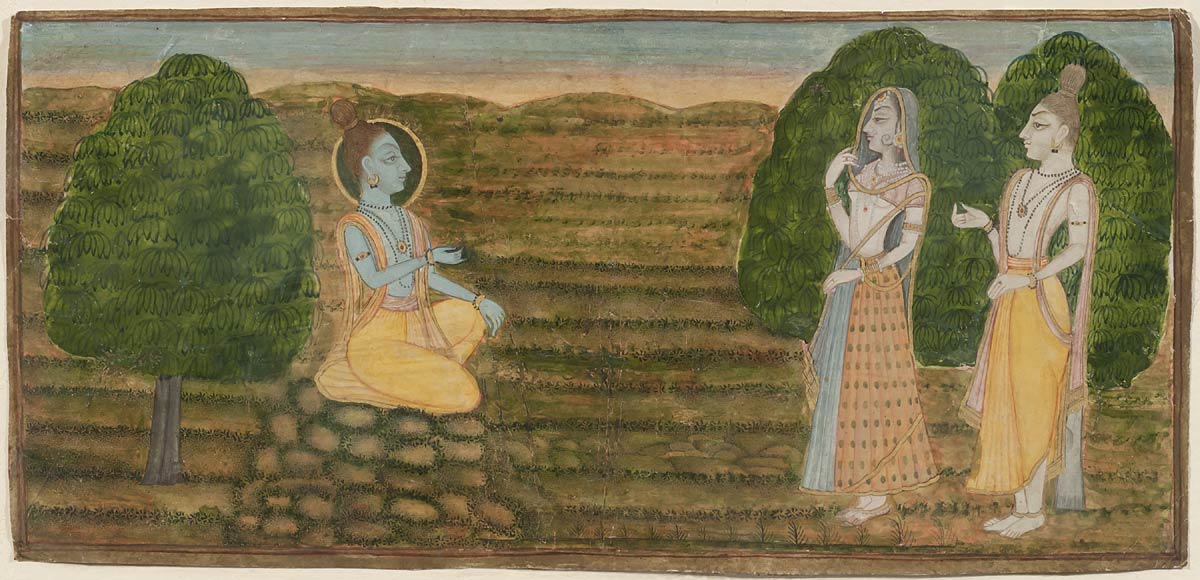Sita accompanied by Lakshman approaching Rama, Kishangarh Artist , Miniature, Circa 1780