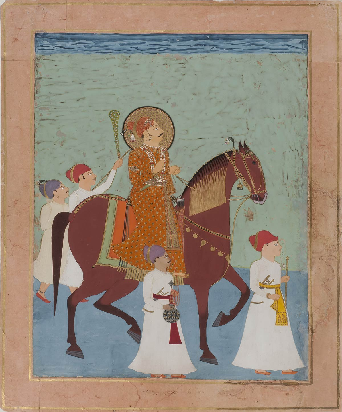 Horseback Portrait of Prince Lakhpatji of Kutch, Nagaur or Jodhpuri artist, 25 x 32 x cms, Folio: 32 cms, Height: 38 cms