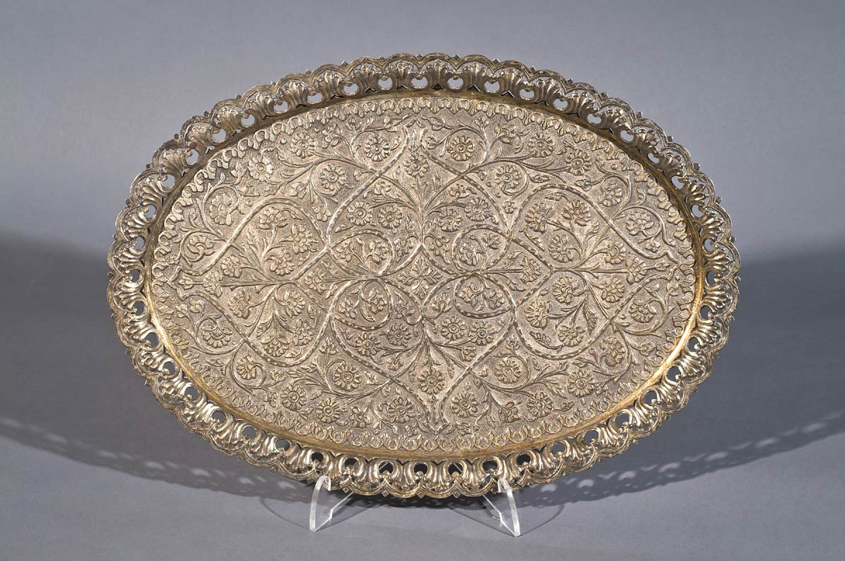 Silver Gilt Tray, Deccan, Early 18th century, 34 x 24 cms, 601 g